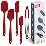 Kaluns Silicone Spatulas Set, 4 Rubber Spatula and One Kitchen Tongs, Heat Resistant Spatula Set, Nonstick Seamless Design with Stainless Steel Core, Kitchen Tools
