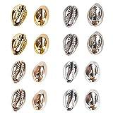 AHANDMAKER Conchas de Cauri Galvanizadas, 40 Uds 4 Colores Electrochapa Cowrie Seashells Perlas de Concha Espiral para Pulsera de Tobillera Hawaii, Fabricación de Artesanías, la Decoración del Hogar