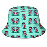 Little Mermaid Princess Bucket Sun Hat para Hombres Mujeres -Protection Packable Summer Fisherman Cap para Pesca, Safari, Paseos en Bote en la Playa Negro
