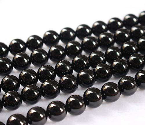 Perles d'agate noire naturelle, 2 mm, 4 mm, 6 mm, 8 mm, 10 mm, 12 mm, 14 mm, 16 mm, perles d'onyx noir lisses et rondes.