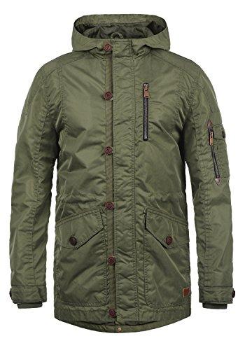 Blend Luxus Herren Übergangsparka Parka Mantel Lange Jacke Mit Kapuze, Größe:M, Farbe:Jungle Green (77196)