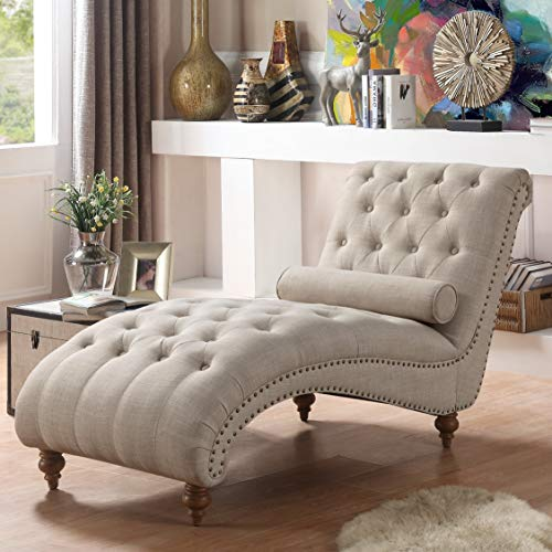 Rosevera TeofilaTufted Chaise Lounge Chair, Cream