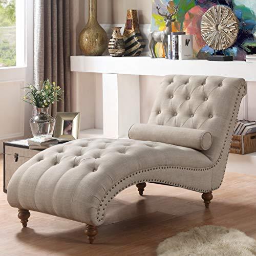 Rosevera Divino Tufted Chaise Lounge Chair, Cream
