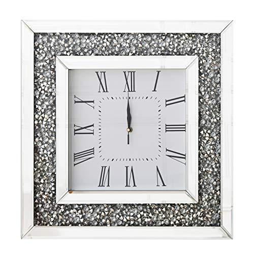 RICHTOP Wanduhr Groß Fast Lautlos Eckig Moderne Schwarz Samt umwickelt Holz Back Quartz Uhren mit Glitter Diamant 50cm für Wohnzimmer,küche,Schlafzimmer, Flur, Büro(No Batterie)