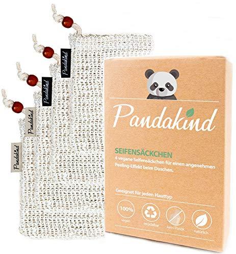 [Ausverkauf] Pandakind - [4x] Seifensäckchen - Luffa - 100% natürliches Körper-Peeling