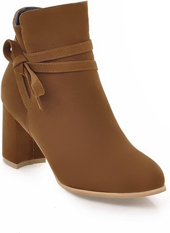 BalaMasa Womens Chunky Heels No-Closure Solid Urethane Boots