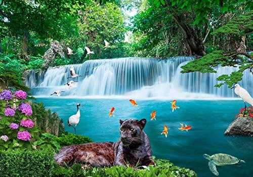 wandmotiv24 Fototapete Wasserfall Dschungel L 300 x 210 cm - 6 Teile Fototapeten, Wandbild, Motivtapeten, Vlies-Tapeten Tiere, Blumen, Fluss M1294