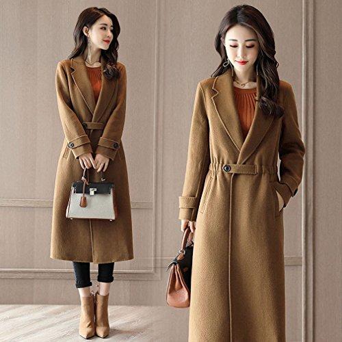 LD È un Cappotto Lungo di Vestito Casuale delle Donne Che Copre Il Vestito Casuale dalla Vita del Rivestimento del Cappotto della Vita,Cammello,S