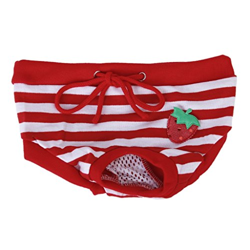 SODIAL (R) Culotte Sanitaire a Rayures Rouges et Blanches pour Chienne Animal Femelle (M)