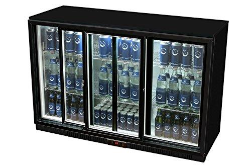 Glastür-Kühlschrank 90 x 135 x 52 cm schwarz | Getränkekühlschrank mit Schiebetür, Flaschenkühlung, Bierkühlung | Gewerbekühlschrank mit 330 L Volumen | Untertheke mit manueller Temperaturkontrolle