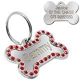 Placa de hueso para collar de mascota Collar de identificación personalizado grabado Accesorio para perro y gato Acero Acero-Rojo Tamaño sin hueso