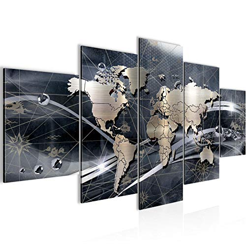 Bilder Weltkarte Abstrakt Wandbild 150 x 75 cm Vlies - Leinwand Bild XXL Format Wandbilder Wohnung Deko Kunstdrucke - MADE IN GERMANY - Fertig zum Aufhängen 106853c