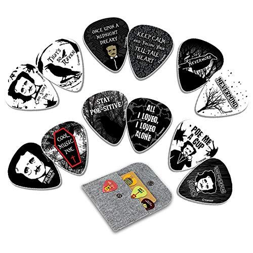 Creanoso Acoustic Guitar Picks (12-Pack) - Gothic Horror Edgar Allan Poe - Premium Music Gifts & Guitar Accessories for Husband Dad Boys Men Him Boyfriend Musician Gift – Cool Guitar Plectrums & Tools