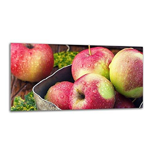 decorwelt Küchenrückwand Spritzschutz aus Glas 80x40 cm Wandschutz Herd Spüle Küchenspritzschutz Fliesenschutz Fliesenspiegel Küche Dekoglas Äpfel Rot