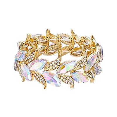 BriLove Wedding Bridal Bracelet for Women Marquise-Shape Leaf Stretch Bangle Bracelet Ruby Color Gold-Toned