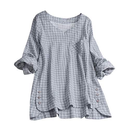 Lazzboy Frauen Lose V-Ausschnitt Leinen Solid Button Sleeveless Freizeithemd Bluse Tops Damenhemden Rüschen Lässige Tunika Einfarbig Damen Kariert Reißverschluss Hemd T-Shirt(Grau,2XL)