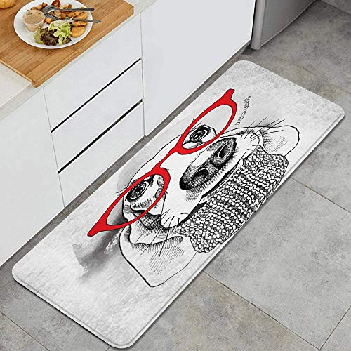 VAMIX Tappeto da Cucina,Cane Basset Hound Retro Hipster Animali Fauna Selvatica Lana Bellezza Moda Cucciolo divertente,antiscivolo passatoia da cucina antiscivolo zerbino tappetino per il bagno