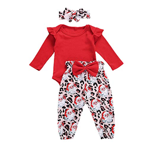 Newborn Baby Christmas Outfit Girl Red Knitted Ruffle Romper Bodysuit Tops Leopard Xmas Santa Pants Set (Red,0-3 Months)
