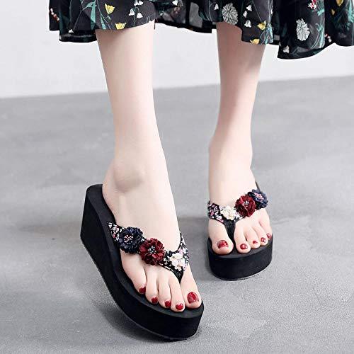 MLLM Sommer-Sandalen für Pooldusche, Blumenfiguren in Richtung roter Zug, rutschfeste dicke Unterseite, Ferienstrandschuhe, C_36, weiche Schaumstoffsohle, Poolschuhe