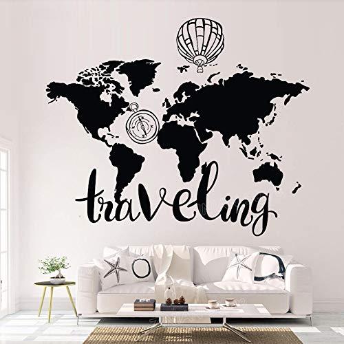 Yaonuli wereldkaart muurstickers objecten voor thuis woonkamer reizen sticker vinyl slaapkamer kompas heteluchtballon muurkunst