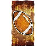 Candi-Shop Ballon De Rugby Vintage Rétro Football Grunge Abstrait sur Serviette De Bain Brun Serviettes À Main Absorbantes pour Salle De Bains