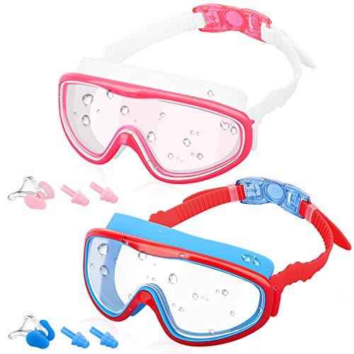 MoKo 2 Pezzi Occhialini da Nuoto per Bambini, Occhiali di Nuoto Anti-Appannamento Visione Chiara Protezione UV, con Clip per Naso e Tappi per Orecchie Swim Goggles per Bambini - Rosa + Rosso