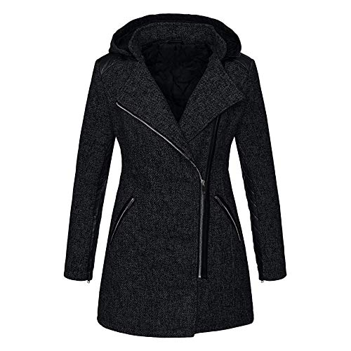 FRAUIT Damen Slim Fit Winterjacke Mit Kapuze Zipper Frauen Dicken Parka Mantel Winter Outwear Coat S-5XL