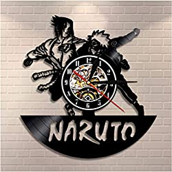 ZHRRYA Vinyl Record Wall Clock with LED Lighting Decorative Boys Room Naruto Game Clocks Japan Cartoon Vintage CD Wall Watch 12 inch