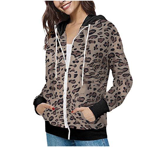 DNOQN Longjacke Plüschjacke Faserpelzjacke Strickmantel Mode Frau Leopard Drucken Jacke Hoodies Mantel Regenbogen Sweatshirt Beiläufig Jacke