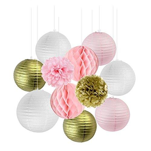 SUNBEAUTY Lanterne Papier Rose Blanc Or Mariage Decoration Salle Kit Pompon Papier de Soie Boule Fleur Suspension Deco Anniversaire Baby Shower Chambre Bapteme Fille 11pcs