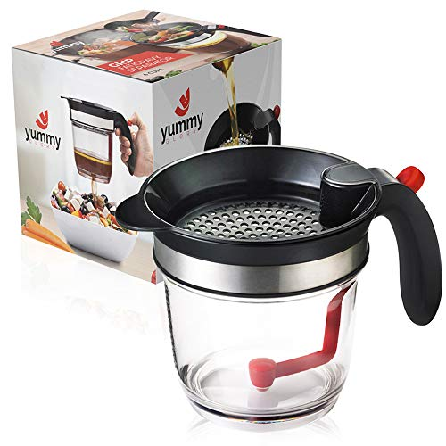 4 Cup Gravy Fat Separator By Yummy Glory - Good Grease Oil Separator for Cooking. BPA Free Plastic Container With Measuring. Easy Press Button Release Dispenser for Improved Health