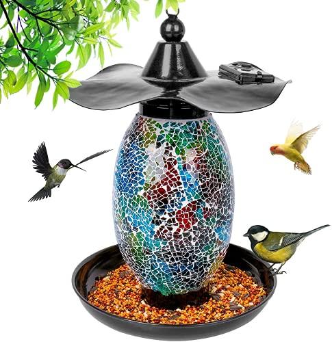 MOPHA Solar Vogelfutterspender Hängendes Vogelhäuschen Gartenlaterne Licht Vogelhaus im Freien Vogelhäuschen für die Fütterung von Wild Bird Garden...