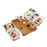 Bamboo Cutting Board Extensible Cheese Board Food Serving Tray Set FDA Approved for Kitchen with Stainess Steel Containers, Eco-friendly Chopping and Serving Board for Meats Bread Fruits