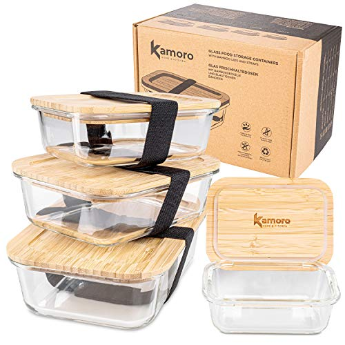 Kamoro HOME & KITCHEN Glas Frischhaltedosen 4er Set mit nachhaltigem Bambus Deckel - Glasbehälter in verschiedenen Größen mit Gummibändern zum Transport – BPA-freie Dosen/Behälter (4er Set)