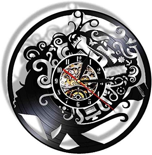 YDDLIE Reloj de Vinilo Art Deco Reloj de Vinilo decoración salón de Belleza salón de Belleza