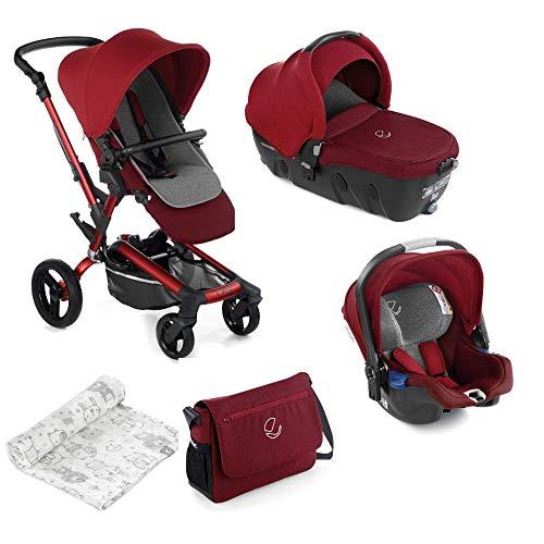Jané Rider - Cochecito de bebe 3 piezas, capazo y portabebé homologados y silla de paseo, con bolso y plástico de lluvia, plegado compacto, hamaca reversible, unisex, color red being
