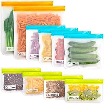 Reusable Food Storage Bags - 10 Pack BPA FREE Flat Freezer Bags 2 Reusable Gallon Bags + 4 Leakproof Reusable Sandwich Bags + 4 Food Grade Kids Snack Bags  Resealable Lunch Bag for Meat Fruit Veggies