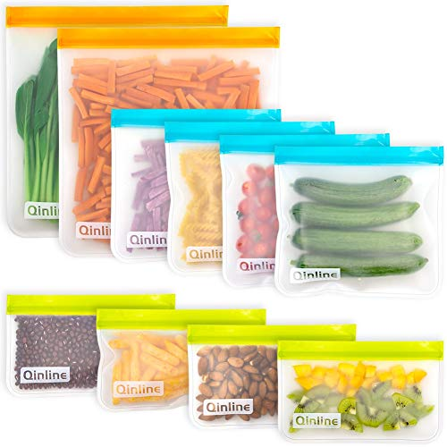 Reusable Food Storage Bags - 10 Pack BPA FREE Flat Freezer Bags(2 Reusable Gallon Bags + 4 Leakproof...