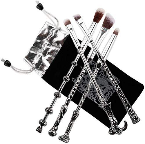 Fashion Base, set da 5 pezzi di pennelli da trucco con manico in metallo stile bacchetta magica dei libri delle fiabe, pennelli per ombretto