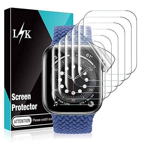 LϟK 6 Stücke Schutzfolie Bildschirmschutzfolie für Apple Watch Series 6 5 4 SE 40mm Folie Dünn - Blasenfrei Kratzfest Hüllenfre&lich Anti- Kratz Anti-Staub HD Klar Flexible TPU Hydrogel Bildschirmschutz