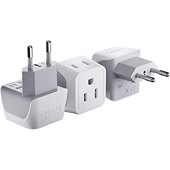 European Travel Plug Adapter by Ceptics Europe Power Adaptor Charger Dual Input - Ultra Compact - Light Weight - USA to any Type C Countries such as Italy, Iceland, Austria and More (CT-9C)