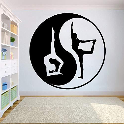 wZUN Yin Yang Yoga Wall Sticker Yoga Room Decoration Fitness Wall Sticker Vinyl Bedroom Living Room Decal Decoration 63X63cm