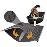 Alfombrilla para arena para gatos Alfombrilla para arena para gatos de doble capa, impermeable, para rascadores, para trampas de arena, Control de dispersión de limpieza fácil (30 x 30 cm)
