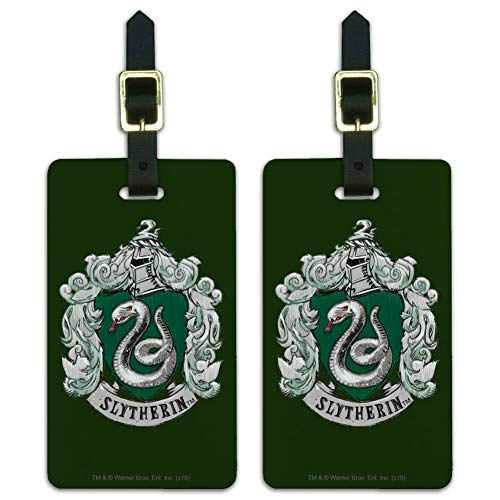 Harry Potter Slytherin Painted Crest Luggage ID Tags Carry-On Cards - Set of 2