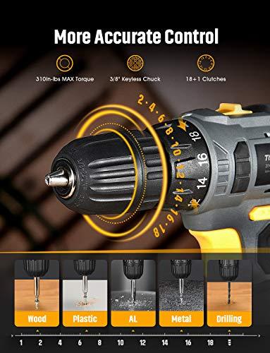 TOPELEK Cordless Drill, Power Drill 20V MAX Lithium-Ion Cordless Drill/Driver Set