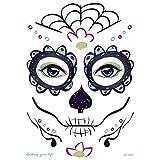 Ububiko Cráneo De Tatuaje Temporal, Cara De Seguridad De México, Pegatinas De Maquillaje De Tela De Araña para Niños Y Adultos para Fiesta De Carnaval De Disfraces De Halloween, 210 × 150 Mm