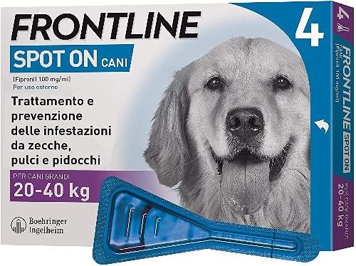 Frontline Spot On, 4 Pipette, Cane Taglia L (20 - 40 Kg), Antiparassitario per Cani e Cuccioli di Lunga Durata, Protegge da Zecche, Pulci e Pidocchi, Antipulci In Confezione da 4 Pipette