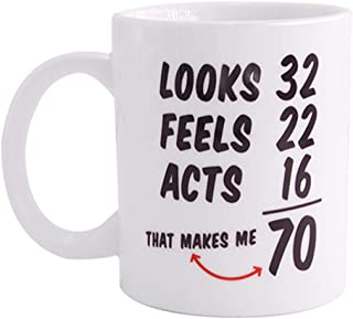 Christmas Gifts Funny 1948 70th Birthday Gifts Ideas Coffee Mug Tea cup for Men and Women Best Novelty Ceramic Coffee Mugs Anniversary unique gifts 70 Year Old Presents for Mom, Dad. 11Oz