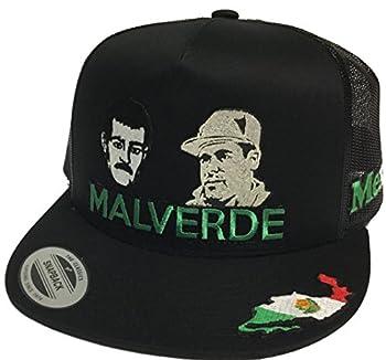 Capsnmore Malverde y El Chapo Guzman Hat 3 Logos Black Mesh