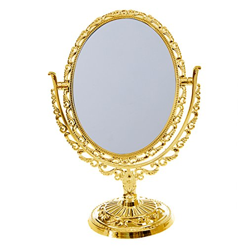 VANKER European Style Desktop zweiseitig Oval Archaistic Swivel Make up Kosmetikspiegel Gold